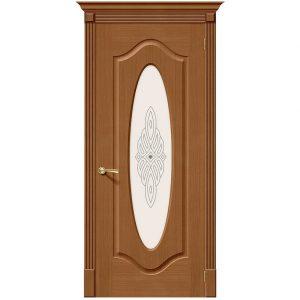 Дверь межкомнатная Аура Ф-11 Орех  со стеклом