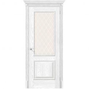 Белая межкомнатная дверь экошпон со стеклом Классико-13 Silver Ash