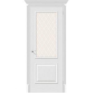 Белая межкомнатная дверь со стеклом Классико-13 Virgin