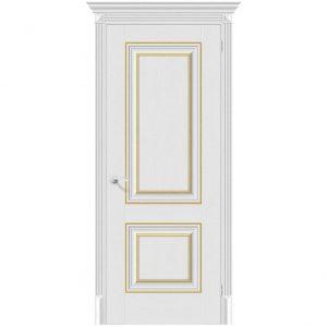 Белая межкомнатная дверь с золотыми вставками Классико-32G-27 Virgin