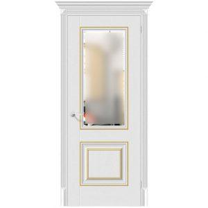 Белая межкомнатная дверь с золотыми вставками Классико-33G-27 Virgin