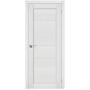 Белая межкомнатная дверь со стеклом экошпон Легно-22 Virgin