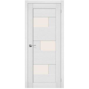 Белая межкомнатная дверь со стеклом экошпон Легно-39 Virgin