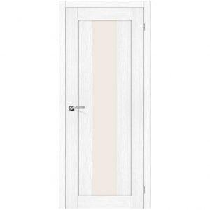 Белая межкомнатная дверь со стеклом Порта-25 alu Snow Veralinga