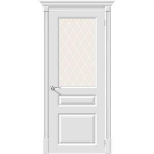 Белая межкомнатная дверь со стеклом эмаль Скинни-15.1 Whitey