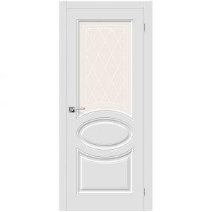 Межкомнатная белая дверь ПВХ со стеклом Браво Скинни-21 П-23 Белый