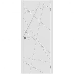 Белая межкомнатная глухая дверь эмаль Скинни-5 Whitey