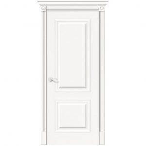 Белая межкомнатная дверь глухая шпон Вуд Классик-12 Whitey