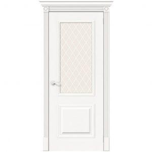 Межкомнатная дверь со стеклом белый шпон Вуд Классик-13 Whitey