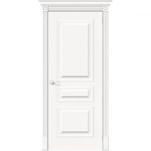 Межкомнатная дверь глухая белый шпон Вуд Классик-14 Whitey