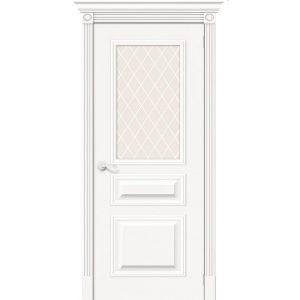 Межкомнатная дверь со стеклом белый шпон Вуд Классик-15.1 Whitey