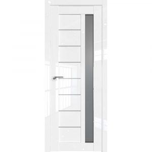 Белая глянцевая дверь со стеклом Профиль Дорс 37L Белый Люкс