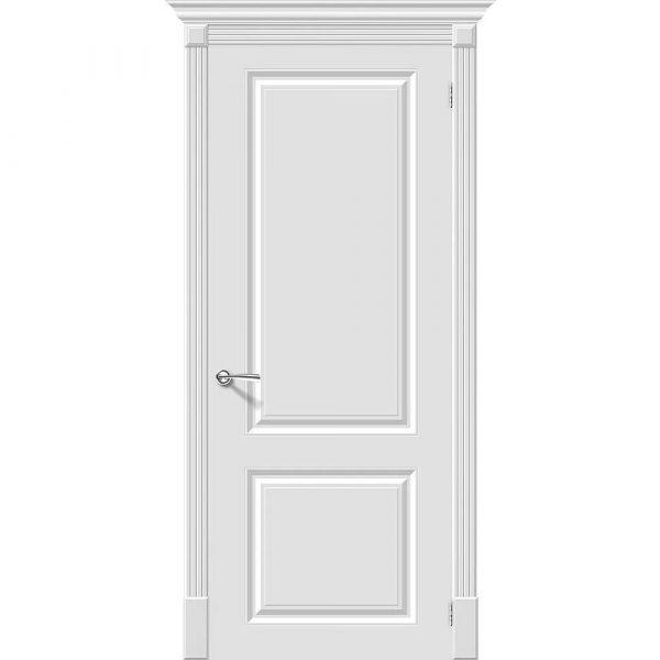 Белая межкомнатная дверь глухая эмаль Скинни-12 Whitey