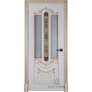 Дверь межкомнатная Александрия 2 Эмаль Слоновая кость остекленная
