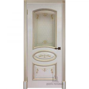 Дверь межкомнатная Багет-3 Эмаль Слоновая кость остекленная