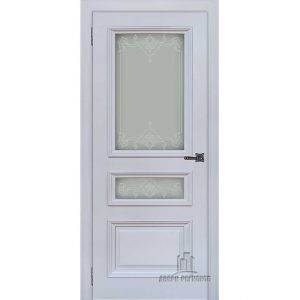 Дверь межкомнатная Неаполь 2 Серый шелк (Ral 7047) Остекленная