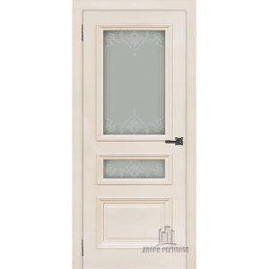 Дверь межкомнатная Неаполь 2 Слоновая кость (Ral 9001) Остекленная