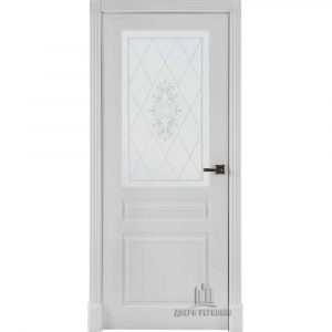 Дверь межкомнатная Турин Эмаль Белая остекленная