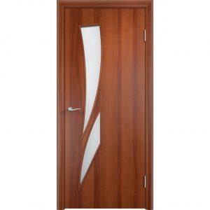 Дверь межкомнатная Тип С-02 Итальянский Орех Остекленная