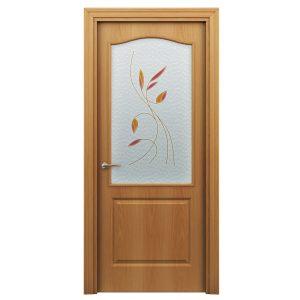 Дверь межкомнатная Премиум Классик Миланский Орех с витражем