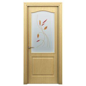 Дверь межкомнатная Премиум Классик Светлый Дуб с витражем